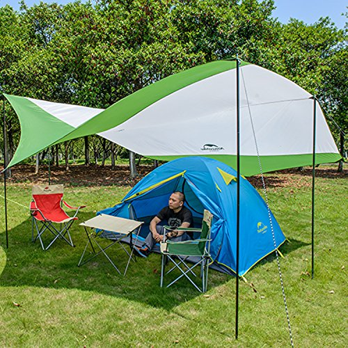 Topnaca Portable Outdoor Sunshade Camping Sun Shelter Awning Included Poles, Lightweight Waterproof Sun-proof 204.7 x 181'' for Tent Camping, Hiking, Fishing, Beach, Picnic (Green&Grey - L)