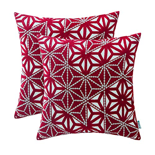 (HWY 50 Embroidered Decorative Throw Pillows Covers Set Cushion Cases for Couch Sofa Bed 18 x 18 inch Wine Red Modern Triangle Geometric Decor Pack of 2)
