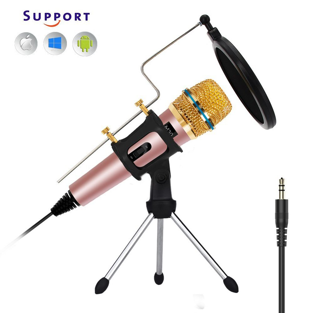 Professional PC Microphone, Computer Condenser Microphone With Tripod Stand & Pop Filter & Shock Mount, G-Touker microphone for PC/Desktop/Computer/Laptop,Great For Youtube,Facebook,Gaming M30 Tkgo