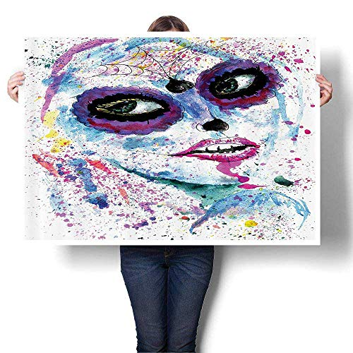 Oil Painting on Canvas Prints Grunge Halloween Lady with Sugar Skull Make Up Creepy Dead Gothic Woman Artsy Wall Art,60