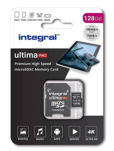 Integral INMSDX128G-100/90V30 Ultimapro Micro SDXC Class 10 UHS-I U3 - microSDXC