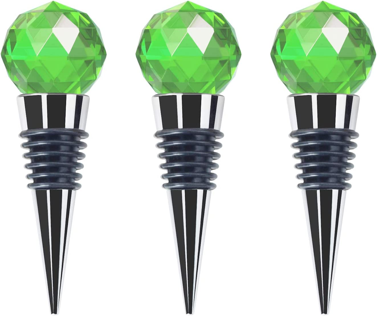 JETKONG Crystal Wine and Beverage Stoppers Glass Decorative Bottle Stopper, Set of 3 (Green)