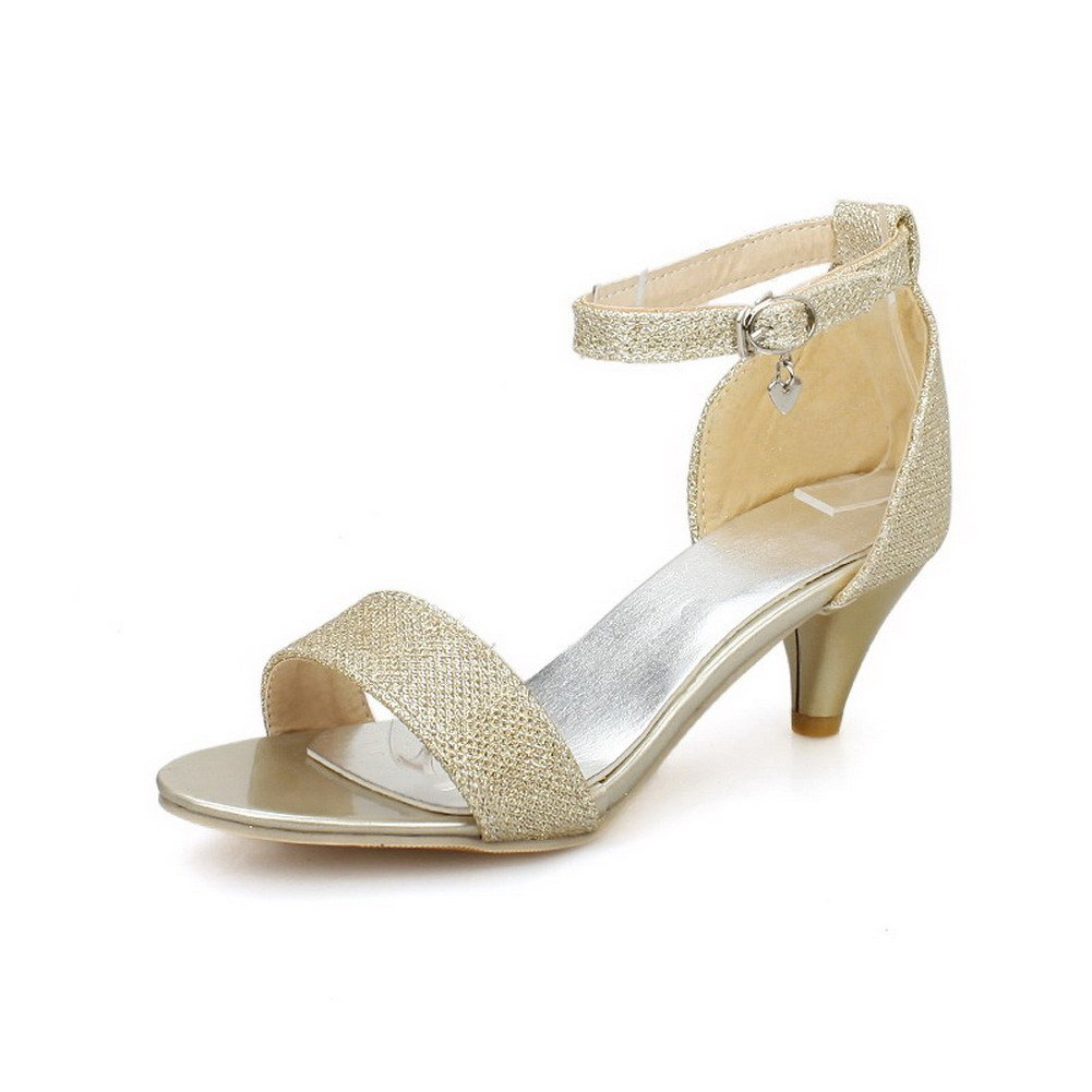 VogueZone009 Women's Open Toe Kitten-Heels Soft Material Buckle Sandals, Gold, 44 by VogueZone009