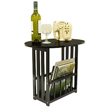 HAUGHTON   Swivel Top Side / End Table With Storage Rack   Dark Oak