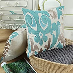 Euphoria High Class Cushion Covers Pillows Shells Cotton Linen Blend Ikat Style Applique Embroidered Teal Taupe Color 20\