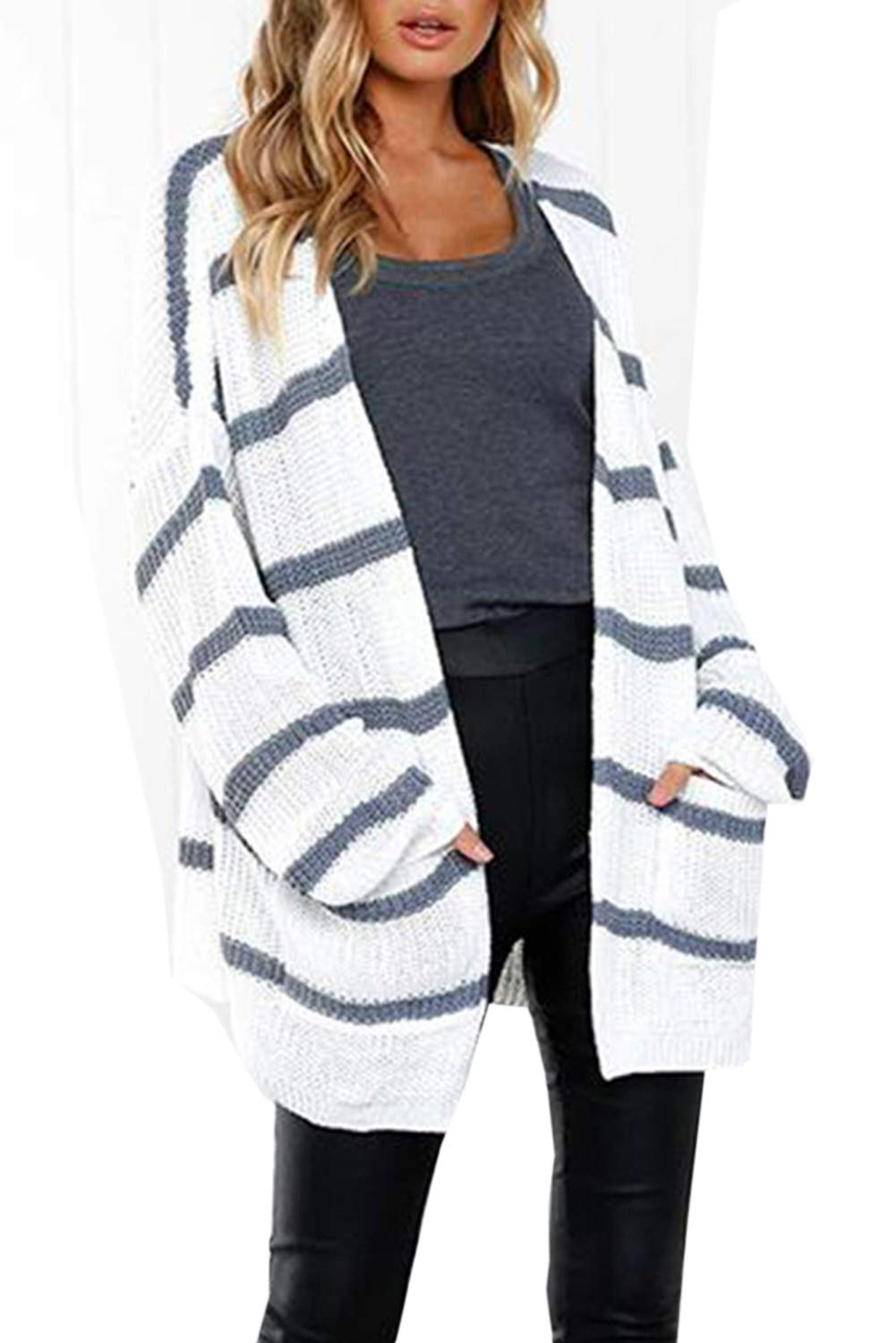 Befily Womens Boho Open Front Long Cardigan Sweaters Casual Loose Striped Pullover Sweater with Pockets (White, X-Large)
