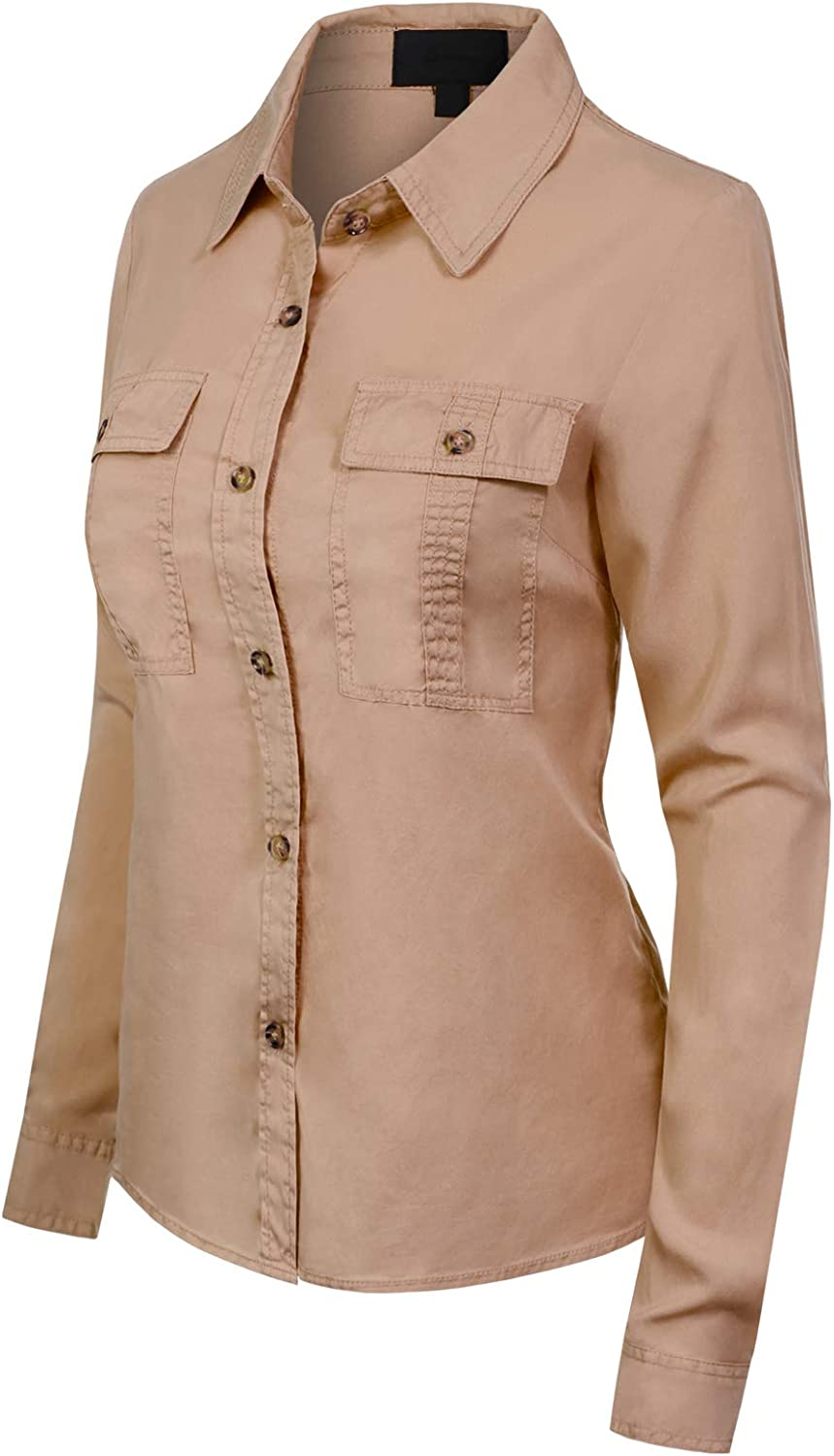 MixMatchy Womens Classic Long Sleeve Button Down Tencel Shirt with Pockets