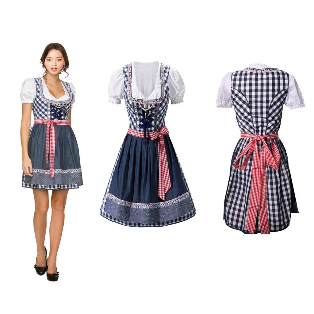 MagiDeal Ensemble Femme Costume Oktoberfest Bavarian Robe Mi-longue /à Carreaux Bleu avec Chemise Tablier S