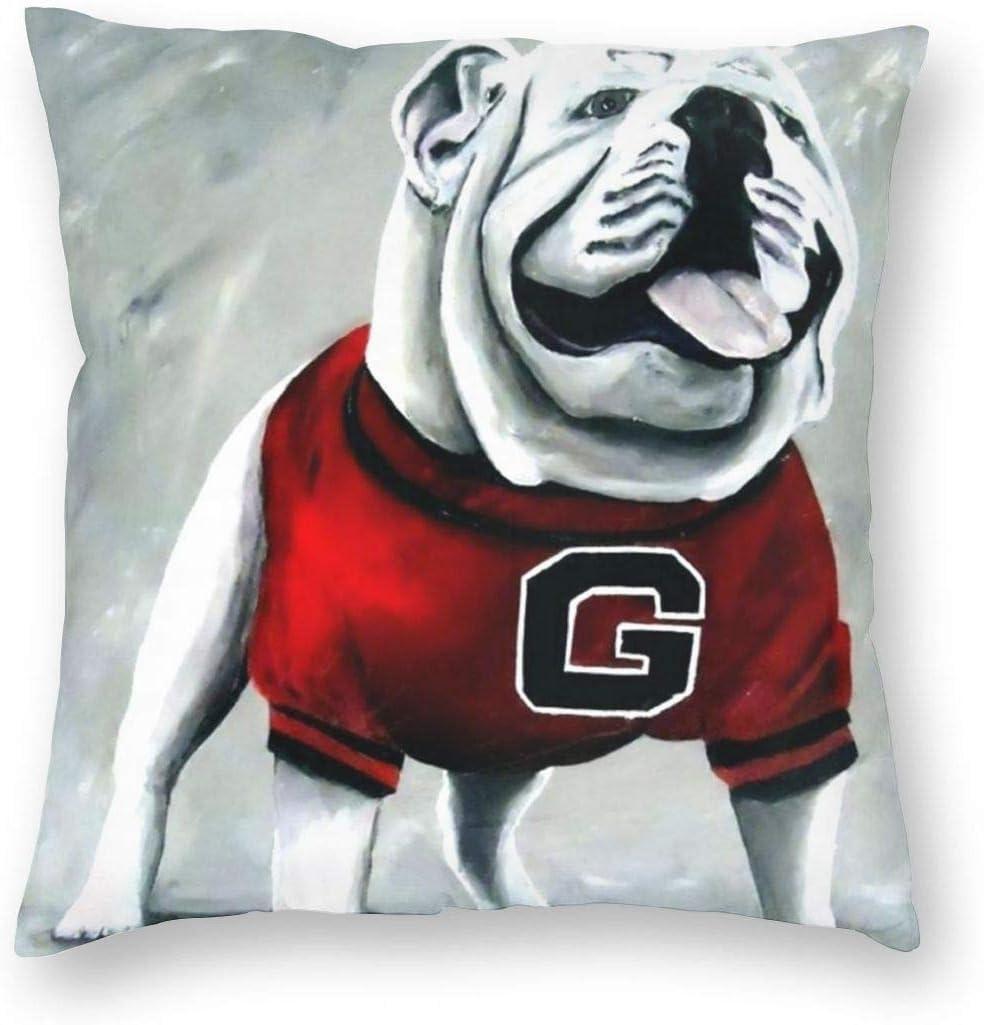 antcreptson Georgia Bulldog Throw Pillow Decorative Pillow Case Home Decor Square 18x18 Inches Pillowcase