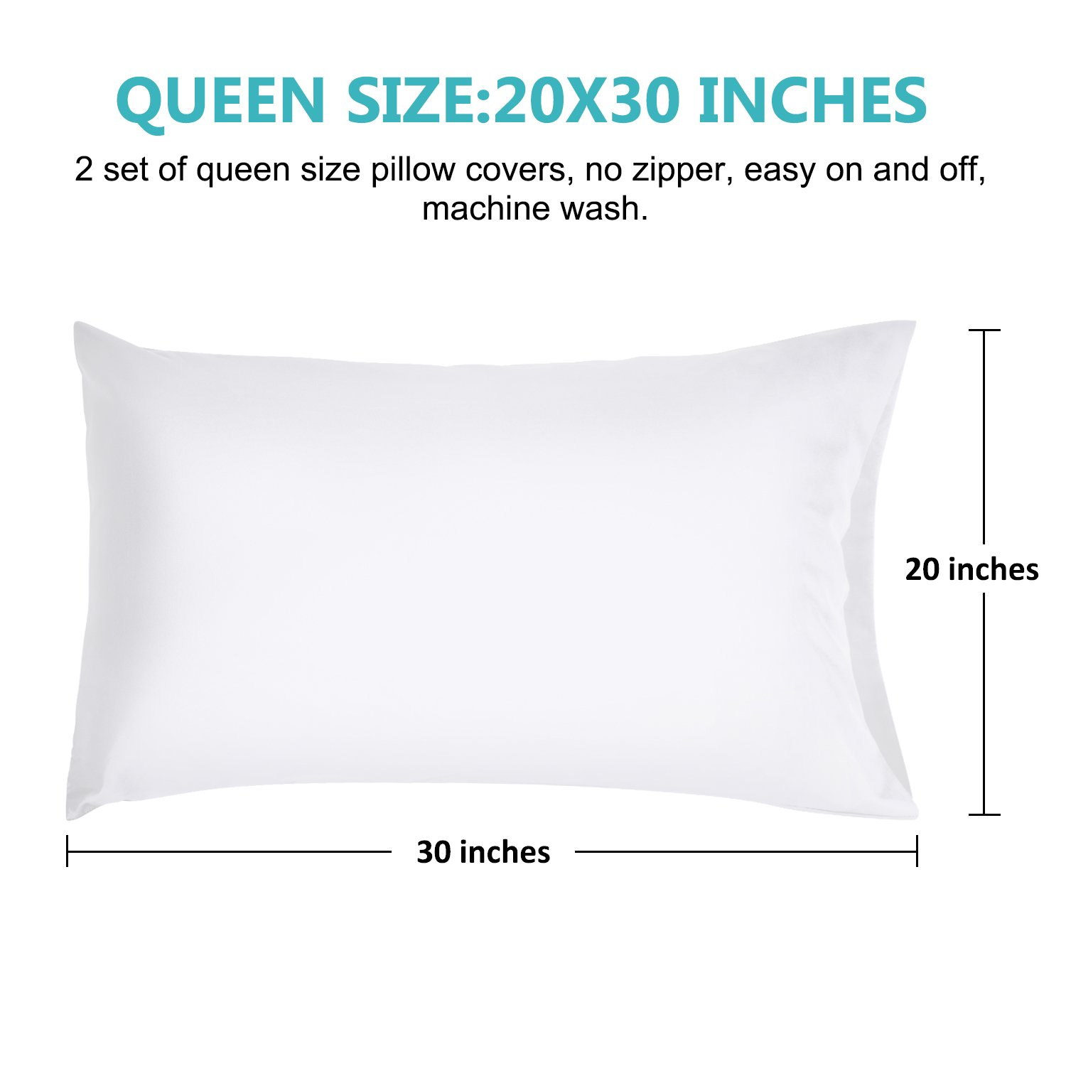 Benewell 2 Queen Size Pillow Cases 100% Cotton, Hypoallergenic Pillow Cover, Envelope Closure End, 20x30 Inch (Set of 2, White)