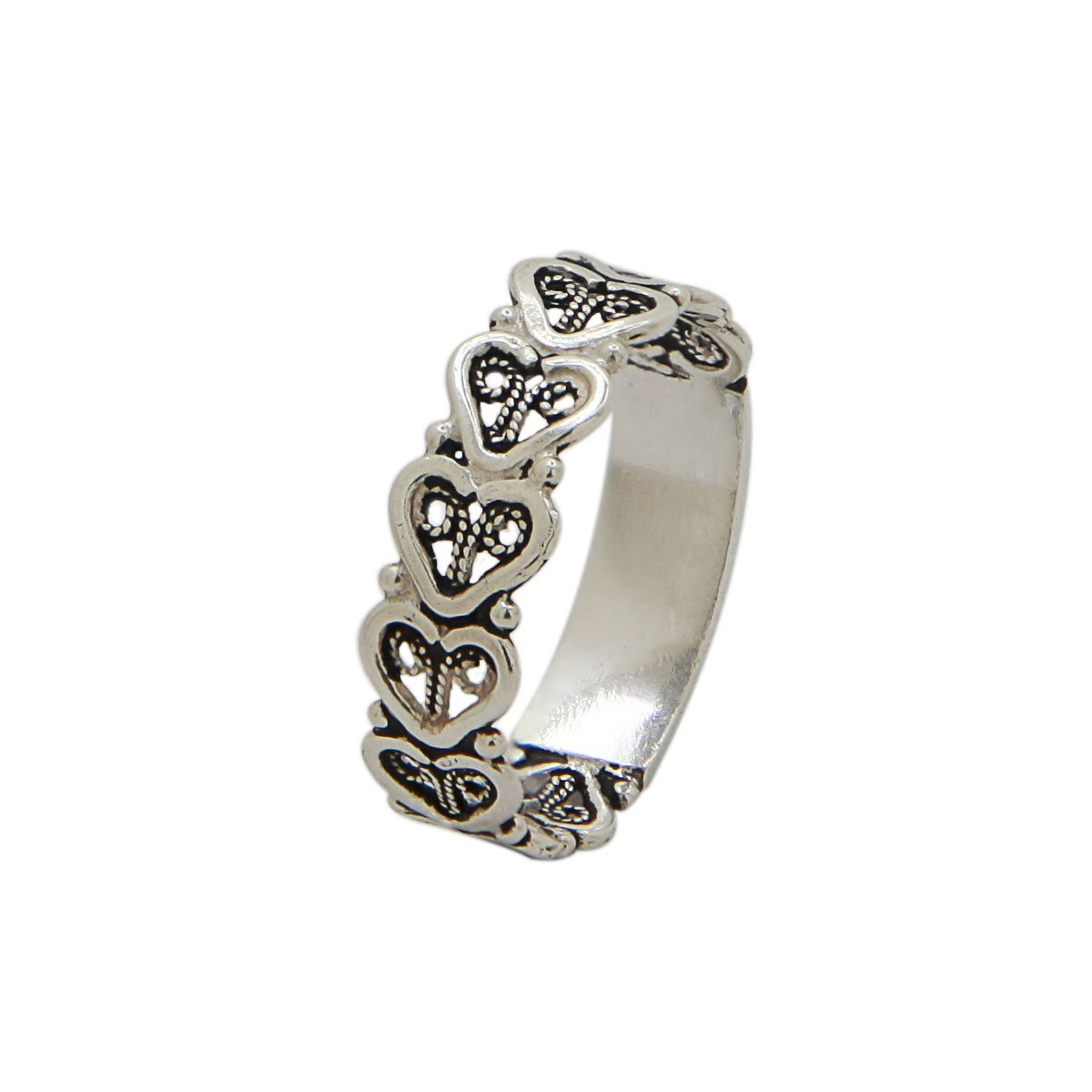 925 Sterling Silver Stackable Heart Band-Filigree Ring-Handmade Artisan (11)
