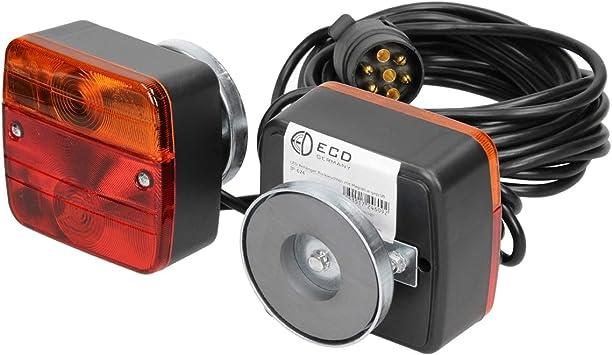 Rückleuchten-Set LED 4 Funktionen auf Magnet 7,5+2,5M Kabel 13-polig Anhänger