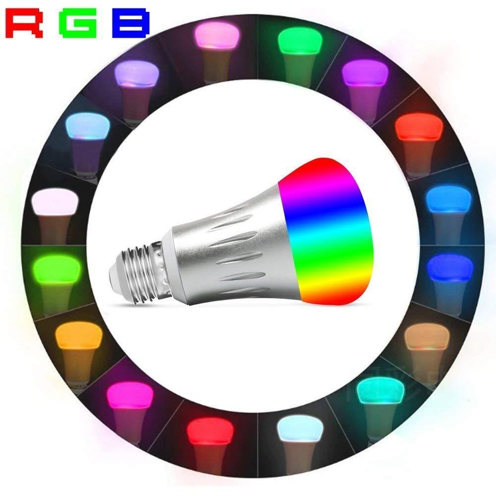 Nologie Bombilla WiFi Inteligente E27 Inalambrica LED 7W Luz Nocturna Regulable Inal/ámbrica RGBW,Control Remoto Compatible Alexa y Google Home Remotamente por dispositivos iOS//Android 2Packs