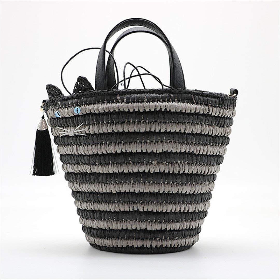 Isogea Handtasche Frauen handgemachte Strand Umhängetasche Bali Stroh Taschen Sommer gewebte Rattan Handtaschen Frauen Messenger Bag r (Farbe   Schwarz, Größe   Einheitsgröße) B07MJ6MBHG Umhngetaschen Charakteristisch
