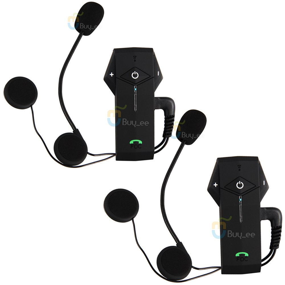 Buyee 2x Motorcycle Motorbike Helmet Bluetooth 1000m Hands Free Bt Intercom Headset NFC Tech (2 Units)