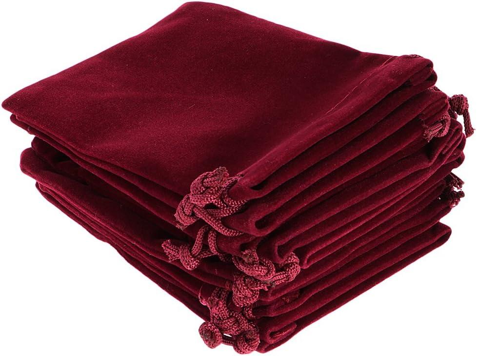 Gazechimp 10pcs Sac /à Cordon Velours Sachet de Th/é Pochette /à Bijoux Cadeau de Mariage Vin rouge 9 x 12cm