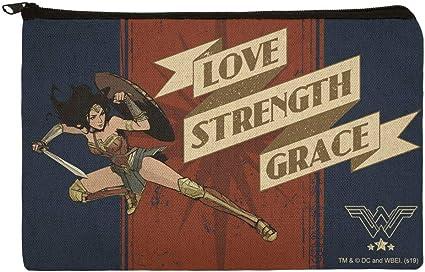 Wonder Woman Movie Love, Strength, Grace - Estuche organizador con cremallera: Amazon.es: Oficina y papelería