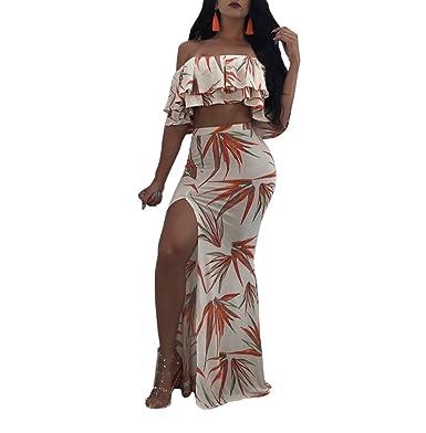 688c03fd6ccc LKOUS Women Off Shoulder Ruffle Crop Top Split Maxi Beach Dress Floral  Print Bodycon Outfits at Amazon Women s Clothing store