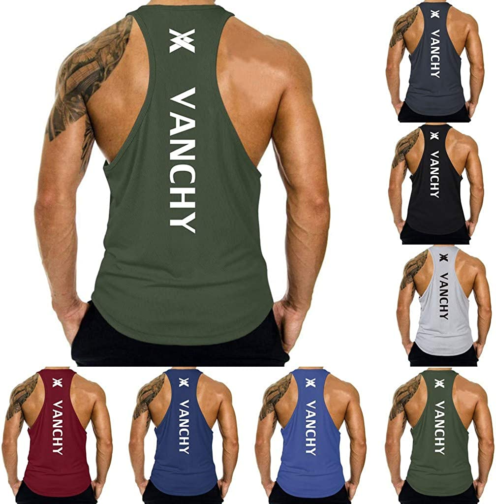 telaite Mens Sleeveless Tshirts Muscle Tank Top Workout Training Blouse Gym Tee Vest Fitness Sweatshirts for Men