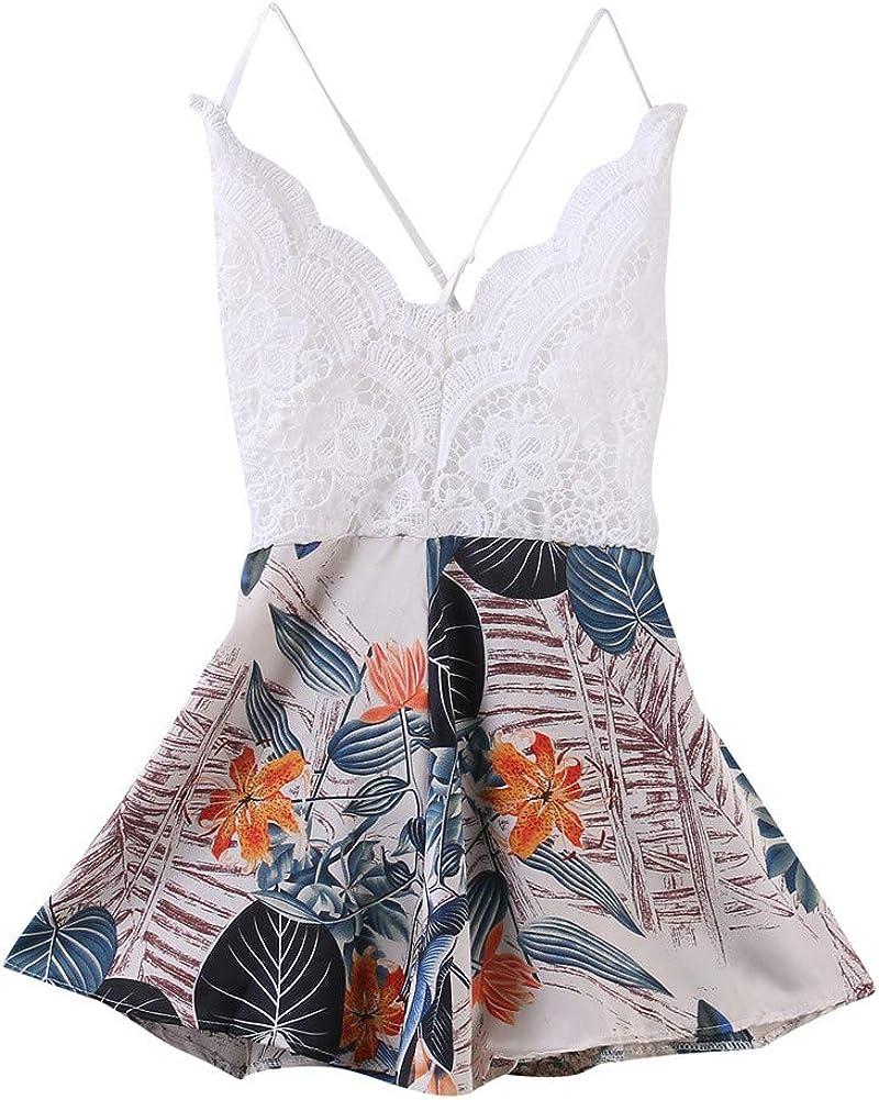 Mono Romper Summer Beach con Encaje Elegante sin Mangas con Cuello en V y Espalda con Tirantes con Estampado Floral