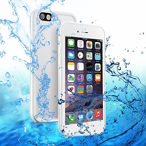 iPhone 6S Plus Waterproof Case, Small Knife Super Slim Thin Light [360 All Round Protective] Full-Sealed IPX-6 Waterproof Shockproof Dust/Snow Proof Case Cover for iPhone 6 / 6S Plus 5.5 inch (White Full Cover Case)