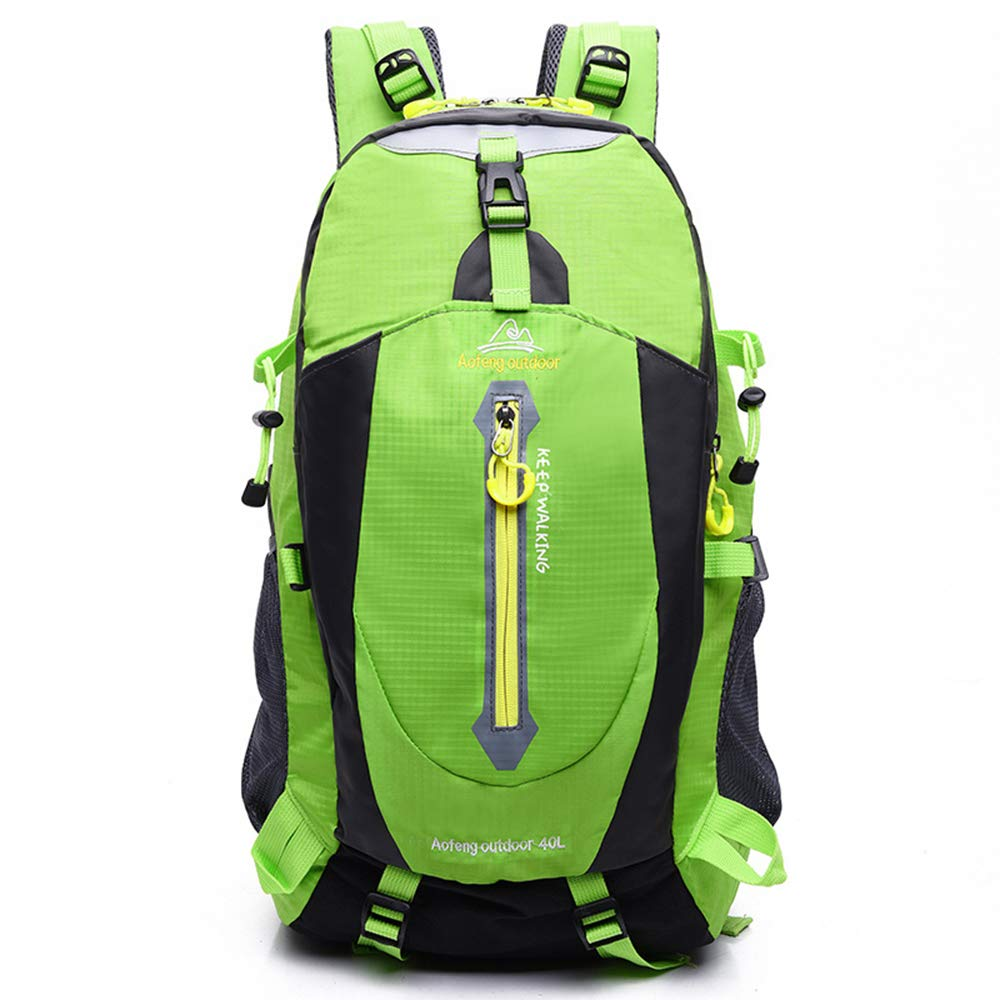 Green Outdoor Hiking Backpack 40L, Water Resistant Trekking Rucksack Lightweight Traveling Daypack Camping Climbing Mountaineering Backpack for Men Women Outdoor Sports,Black