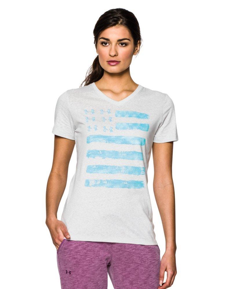Under Armour Women's UA Charged Cotton Tri-Blend Patriotic V-Neck