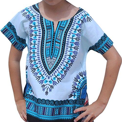 RaanPahMuang Unisex Bright African White Children Dashiki Cotton Shirt, 1-3 Years, Light Blue On White