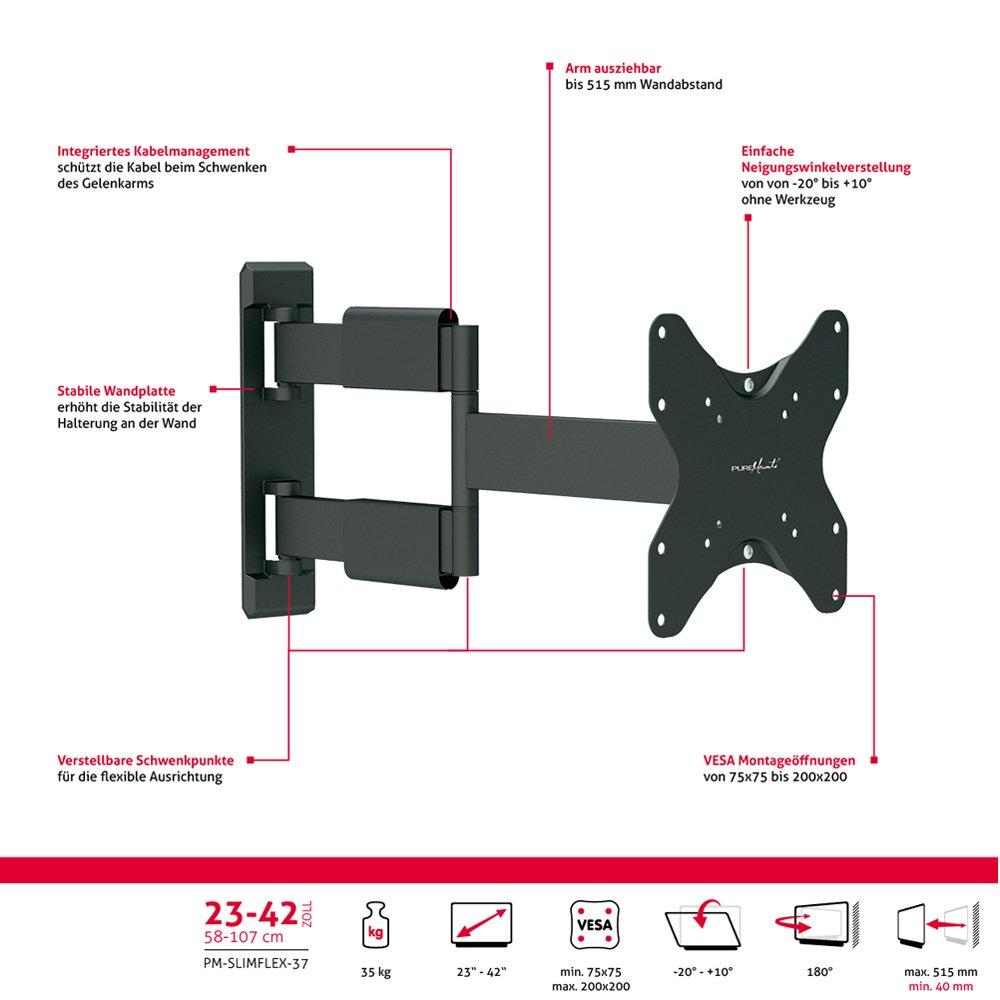 PureMounts TV Wandhalterung PM-Slimflex-65 – neigbar, schwenkbar, schwenkbar, schwenkbar, flach, ultraslim für Fernseher bis 165cm   65  Zoll   VESA600 55f897