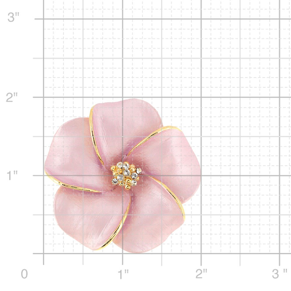 Fantasyard Pink Hawaiian Plumeria Swarovski Crystal Flower pin Brooch and Pendant