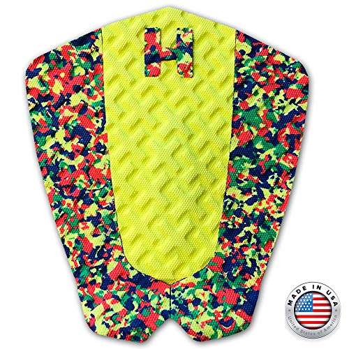 Hammer Surf Traction The Strike Traction Pad - Yellow Red Green Tail Pad - Deck Grip - Made in The USA