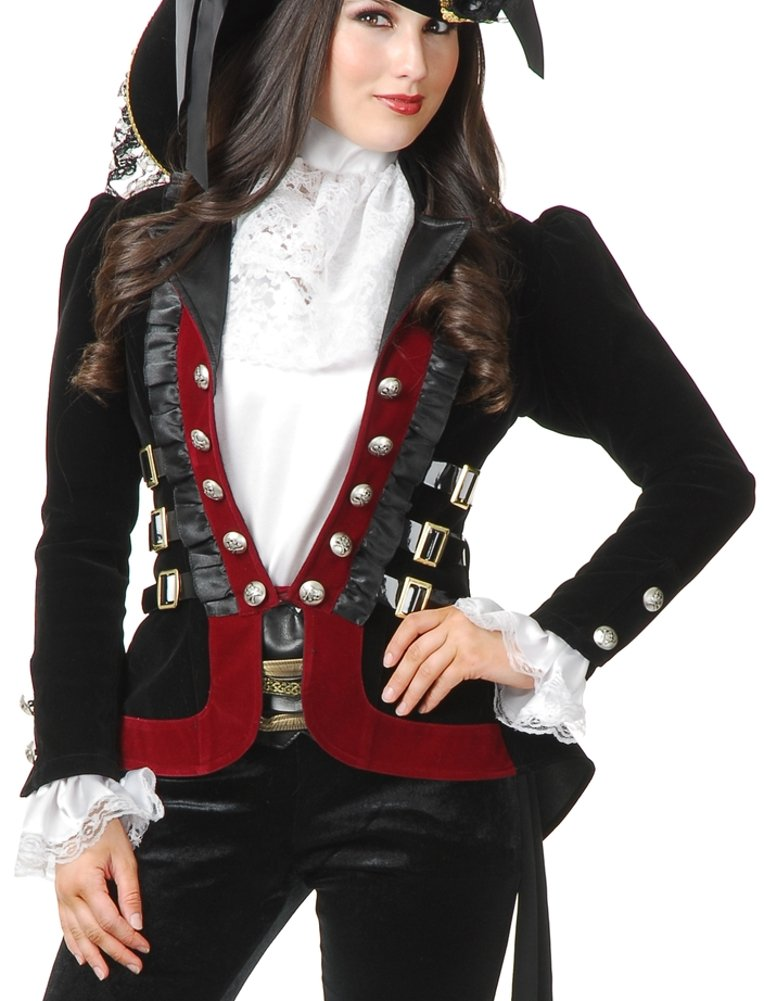 Women's Sultry Black and Wine Velvet Pirate Jacket - DeluxeAdultCostumes.com