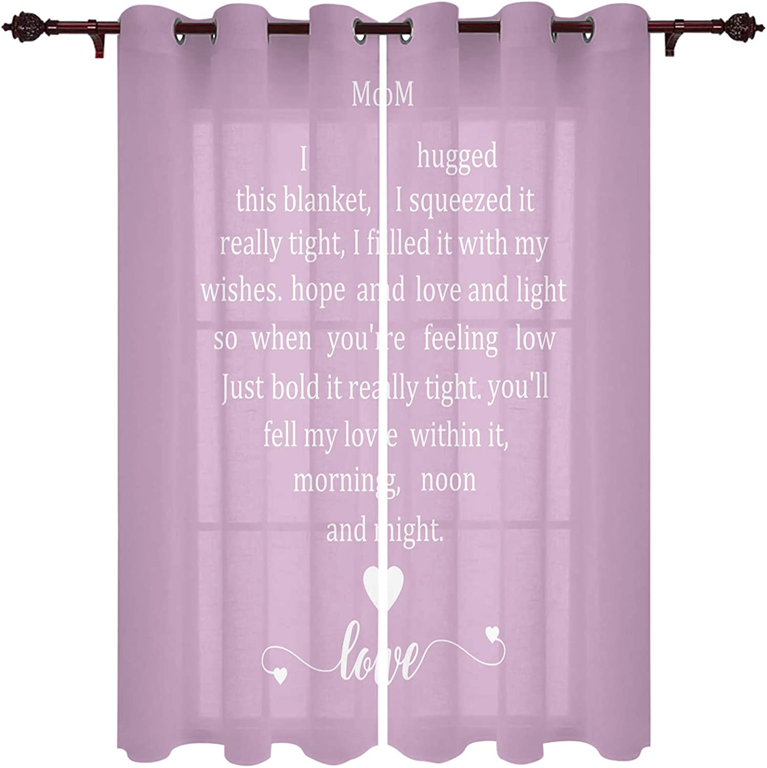 Blackout Curtains for Bedroom, Mothers Day Pink ove Expression for Mom Thermal Insulated Room Darkening Curtains, Window Curtain for Living Room, 63 Inches Length(Set of 2 Panel)
