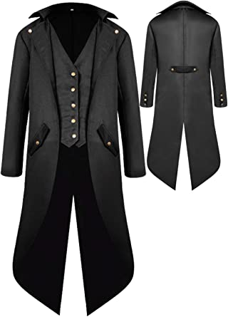 Retro Pirate Victorian Gothic Medieval Jacket Vintage Frock Coat Renaissance Steampunk Tailcoat Halloween Costumes for Men