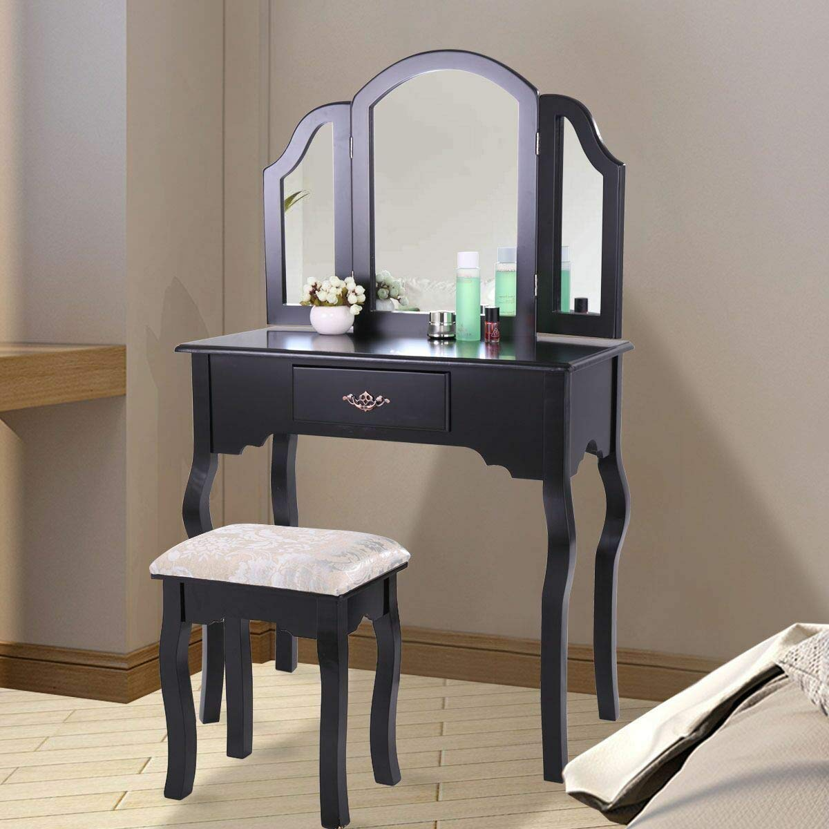 goodyusstore Beautiful and Elegantly Design, Collapsible Side Mirrors, Black Vanity Makeup Table Set Dressing Jewelry Desk with Drawer