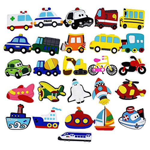 XHAOYEAHX Fridge Magnets Refrigerator Magnetic Cute Toys Home Kitchen Funny Decorations Education Set of 26 Transports Airplane Boat Vehicle Bicycle Magnetic Decor Stickers