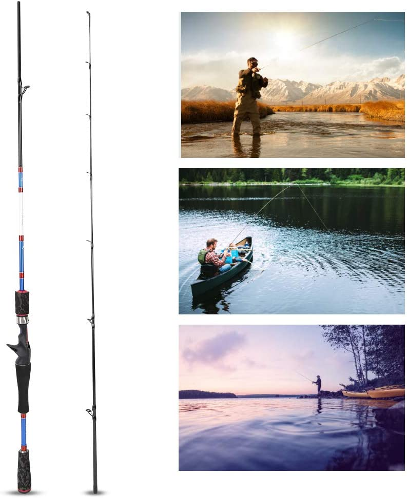 Casting Fishing Rod,66.2 Inch Portable Lightweight Carbon 2 Section Outdoor Fishing Pole with Oxford Bag