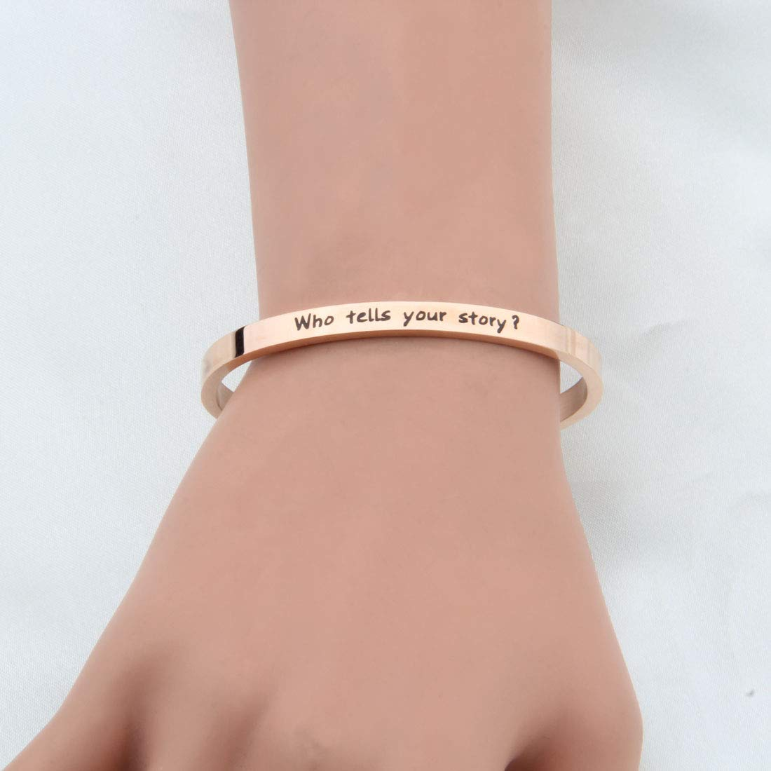 WUSUANED Who Tells Your Story Hamilton Quote Cuff Bangle Bracelet Broadway Musical Fan Gift