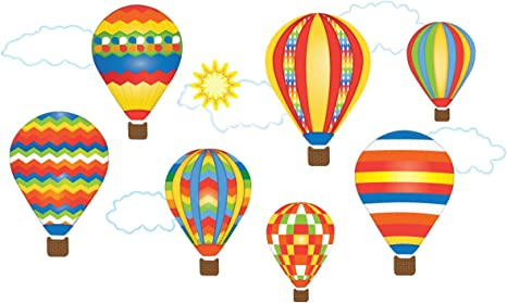 Amazon Com Hot Air Balloons Wall Decals Primary Colors Eco Friendly Matte Fabric Wall Stickers Home Kitchen