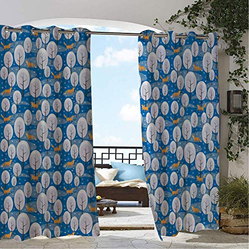 Snow Blanketed Trees - Linhomedecor Patio Waterproof Curtain Snowflake Abstract Christmas Design Snow Blanketed Trees and Sweet Foxes Pattern Image Multicolor pergola Grommets Adjustable Curtains 72 by 108 inch