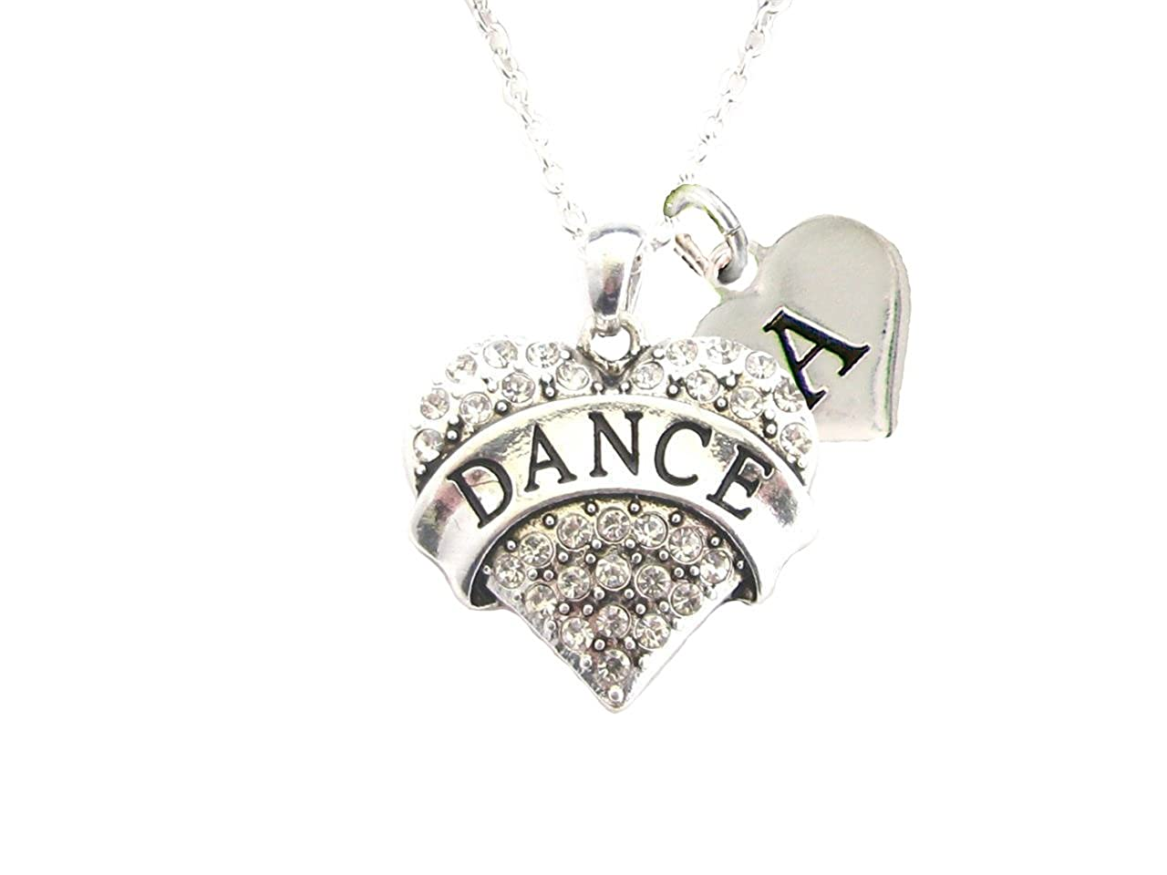 Holly Road Custom Crystal Dance Dancing Silver Chain Necklace Jewelry Choose Initial Charm