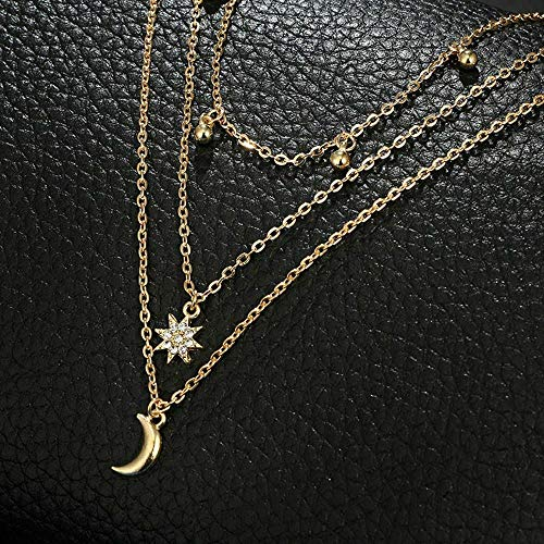(Gothic Women Multi Layer Moon Gold Boho Star Flower Pendant Necklace Choker)