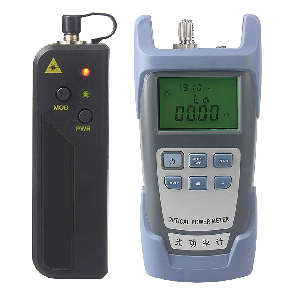 Prettyia A Set AUA-9 Fiber Optic Cable Tester Optical Power Meter with Sc & Fc Connector Fiber Tester +30mW Visual Fault Locator for CATV Test,CCTV Test