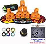 Speed Stacks Combo Set ''The Works'': 12 NEON ORANGE 4'' Cups, Black Flame Gen 3 Mat, G4 Pro Timer, Cup Keeper, Stem, Gear Bag + Active Energy Necklace
