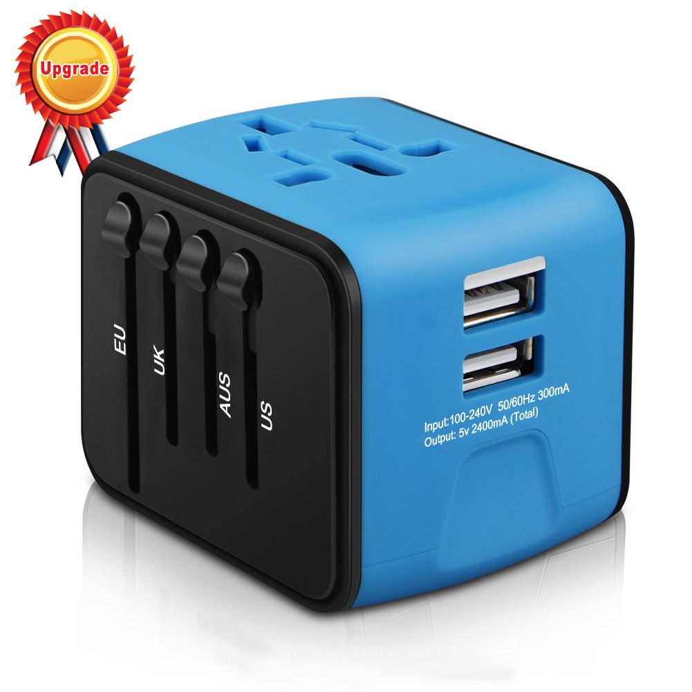 Universal Travel Adapter, HAOZI All-in-one International Power Adapter with 2.4A Dual USB, European Adapter Travel Power Adapter Wall Charger for UK, EU, AU, Asia Covers 150+Countries (Blue)