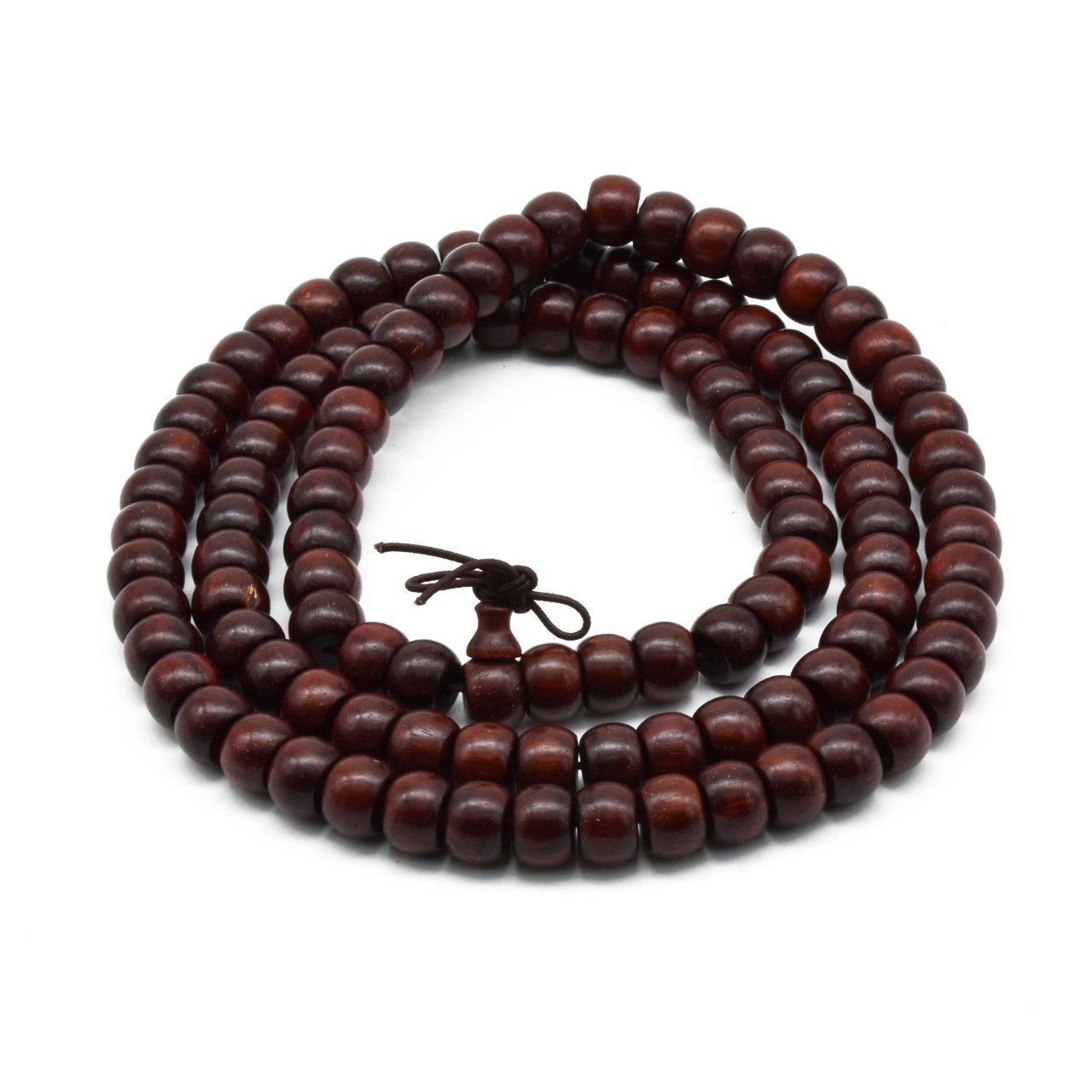 Zen Dear Unisex Natural African Blood Red Sandalwood Prayer Beads Tibetan Buddhism Mala Bracelet Necklace (6mm x 8mm x 108 Beads)