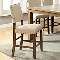 Melston Country Style Vintage Oak Finish Counter Height Chairs (Set of 2)