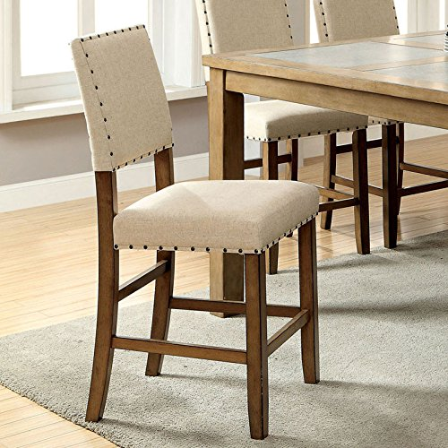 Melston Country Style Vintage Oak Finish Counter Height Chairs (Set of (Oak Finish Counter Height Chairs)