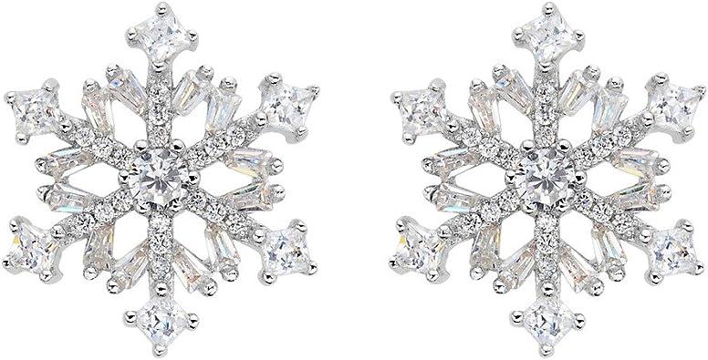 Winter Snowflake Flower Elegant Stud Earrings with Cubic Zirconia for Woman Teen Girls