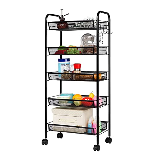 LANGRIA 5-Tier Basket Mesh Wire Rolling Kitchen Trolley with 5 Side Hooks Multifunctional Utility Storage Cart Sturdy Omnidirectional Wheels Max Load Capacity 66 lbs. / 30kg Home Office Use (Black)